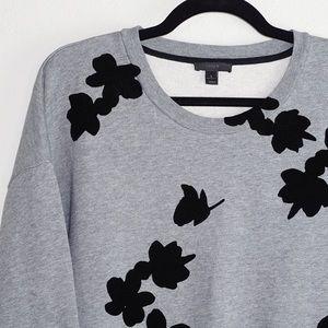 J Crew Velvet Floral Detail Pullover Sweater